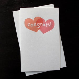 Image of 1605 - two hearts letterpress congratulations card