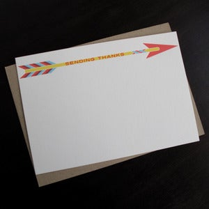Image of 1105B - arrow letterpress thank you cards - set of 6