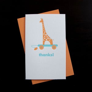 Image of 1003B - giraffe letterpress thank you card - set of 6