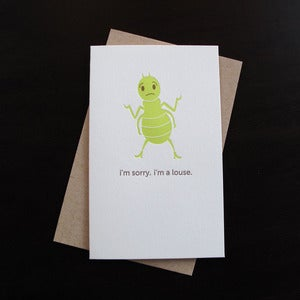 Image of 1307 - apologetic louse letterpress card