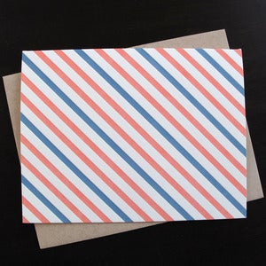 Image of 1805B - oxford stripe blank letterpress note cards - set of 6