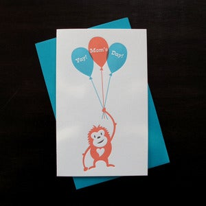 Image of 1711 - lil' orangutan letterpress mother's day card 