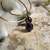 Image of Hoops- Brass, Amethyst