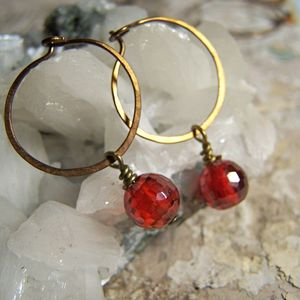 Image of Mini Hoops- Brass, Crimson