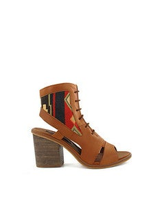 Image of Miista Andrea Tan with Multi-Coloured embroided ankle cuff