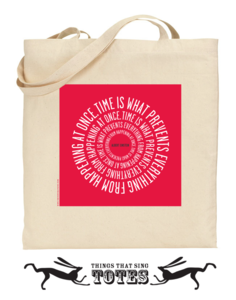 Image of Einstein Time TOTE BAG (red or black)