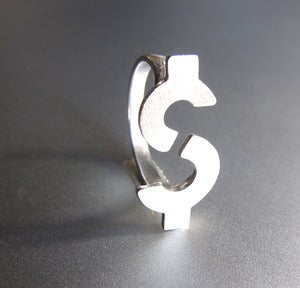 Image of Dollar Sign - Handmade Silver Ring