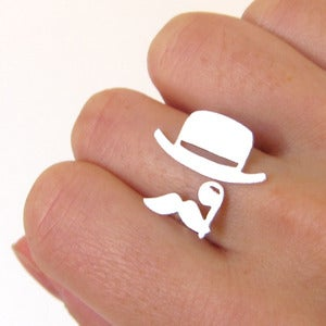 Image of Mr. Mustache with Top Hat and Monocle - Handmade Silver Ring