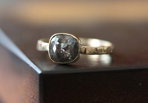 Image of One of a Kind Grey Cushion Rose Cut Diamond Ring in 14kt Gold