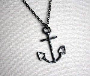 Image of Black Anchor Necklace