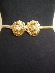 Image of Anne Klein lion head gold stretch belt