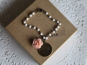 Image of Handstamped &quot;Splendor&quot; Charm and Peach Rose Bracelet