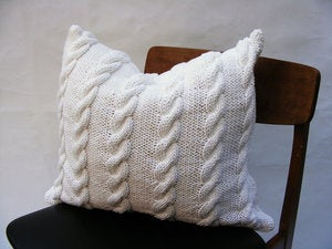 Image of Hand Knit Cushion 50 x 50cm - white cable