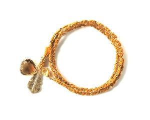 Image of Gold Braided Wrap Bracelet / Necklace