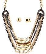 Image of Multi row metal chain necklace