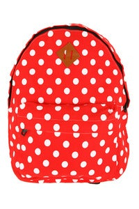 Image of 'Strawberry Fields Forever' Red-White Polkadot Backpack