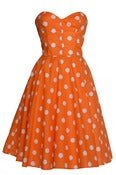 Image of £10 OFF! Orange Polka dot 50s Inspired Full Circle Rockabilly Dress