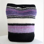 Image of purple striped felted hand bag