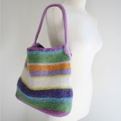 Image of multi-colored striped tote bag