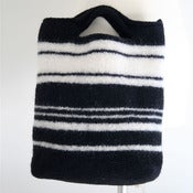Image of black &amp; white felted handbag