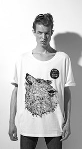 "Image of SS2012: Volume T-shirt Unisex ""LUPO"". White or gray."