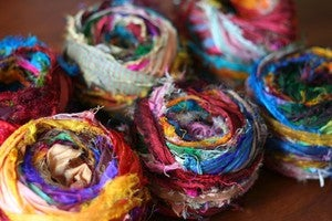 Image of Multicolored Tibet Jewels Silk Sari Strip Ribbon Yarn 100g