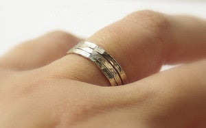 Image of 14k WHITE Gold Filled Hammered Unique Stackable / Stacking Wedding Rings