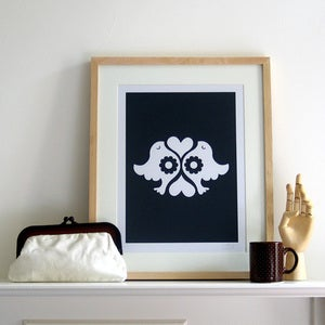 Image of Lovebirds Screen Print | Navy