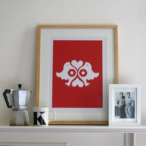 Image of Lovebirds Screen Print | Red
