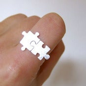 Image of Puzzle Ring for Autism - 50% Sales go to Autism Society - Handmade Sterling Silver 