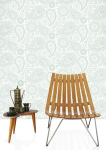 Image of Paisley Crescent Wallpaper - Pale Verdigris