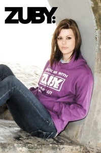 Image of 'I'm Down With Zuby' Hoodie - Purple/White