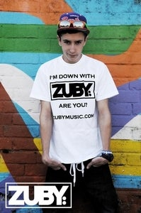 Image of 'I'm Down With Zuby' T-shirt - White/Black (Standard Fit)