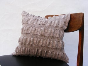 Image of Hand Knit Cushion 40 x 40cm - grey ripple knit