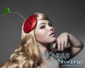 Image of &quot;Sumptuous Cherry&quot; Fascinator Pop Surrealism Pinup Strange Quirky Hat Couture Glitter 