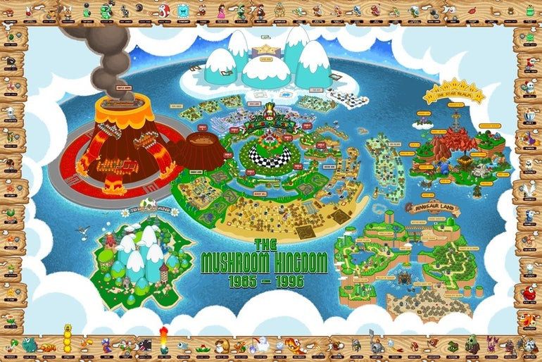 The ultimate map to the entire Mushroom Kingdom