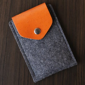 Image of iPhone Felt / Leather Case with Secret Pocket - Dark Grey