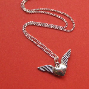 Image of High on Love Winged Heart Necklace