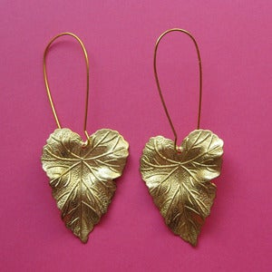 Image of Large Leaf Loop Earrings (Various Colours)