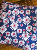 Image of  1970s Blue Daisy Flower Vintage Fabric, Cushion Pad