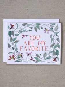 Image of You Are My Favorite Note Card with Clematis