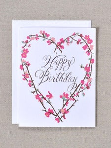 Image of Happy Birthday Note Card with Flowering Quince