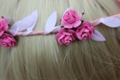 Image of Pink Floral and Pink Ivy Leaf Trim Festival Floral Hair Crown/Garland