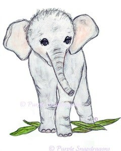 Image of ElleBelle the Elephant, Fine Art Print, 8x10 Illustration, Watercolor, Pen & Ink