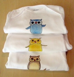 Image of SET OF 3 - One Piece Owl Bodysuits for Baby - Short Sleeve, Infant, Nursery