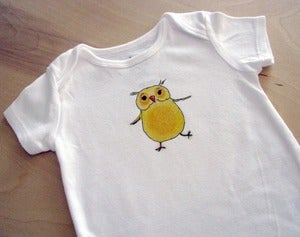 Image of Happy Yellow Dancing Owl Onesie Bodysuit, Short Sleeve, Baby, Nursery