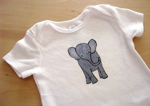 Image of Baby Gray Elephant, One Piece Bodysuit, Short Sleeve, Infant, Nursery