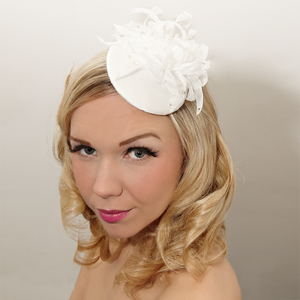 Image of Bridal fascinator decorated with a beautiful chiffon flower and Swarovski crystals.
