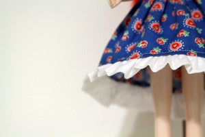 Image of Blythe dress-blue w/ruffle bottom