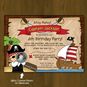 Image of Pirate Birthday Invitation - Pirate, Treasure Map and Pirate Ship